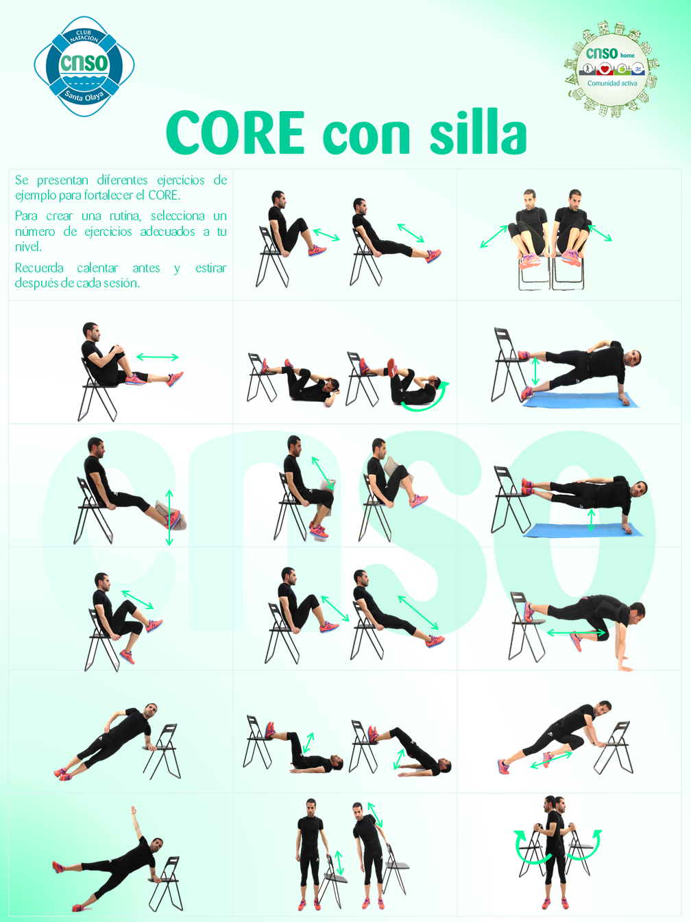 Fitness POSTER EJERCICIOS CNSOhome Silla